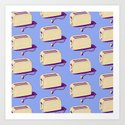 Toaster (blue & cream) Art Print