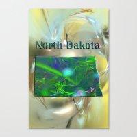 North Dakota Map Canvas Print