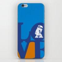 Robot LOVE - Blue iPhone & iPod Skin