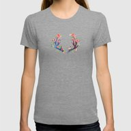 Roses And Antler Womens Fitted Tee Tri-Grey SMALL