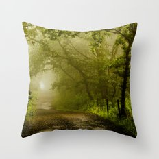 Misty Woodland Lane Throw Pillow