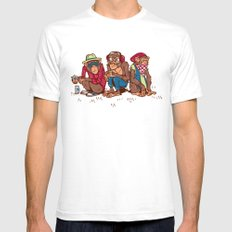 Three Wise Hipster Monkeys SMALL Mens Fitted Tee White