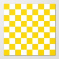 Checker (Gold/White) Canvas Print