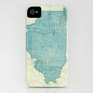 Illinois Map Blue Vintag… iPhone (4, 4s) Slim Case