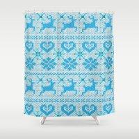 Scandinavian Knitting Shower Curtain