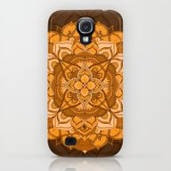 Orange Mandala Flower Galaxy S4 Slim Case