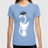 Cat And Raven Womens Fitted Tee Tri-Blue SMALL