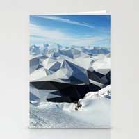 low poly mountains Stationery Cards