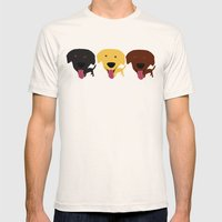 Labrador Dogs Black Yell… Mens Fitted Tee Natural SMALL
