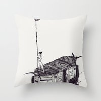 Knife Down, Wings Open Throw Pillow