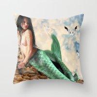 Sea Siren, Nude mermaid art Throw Pillow