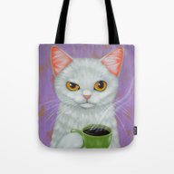 WHITE CAT AND BLACK COFF… Tote Bag