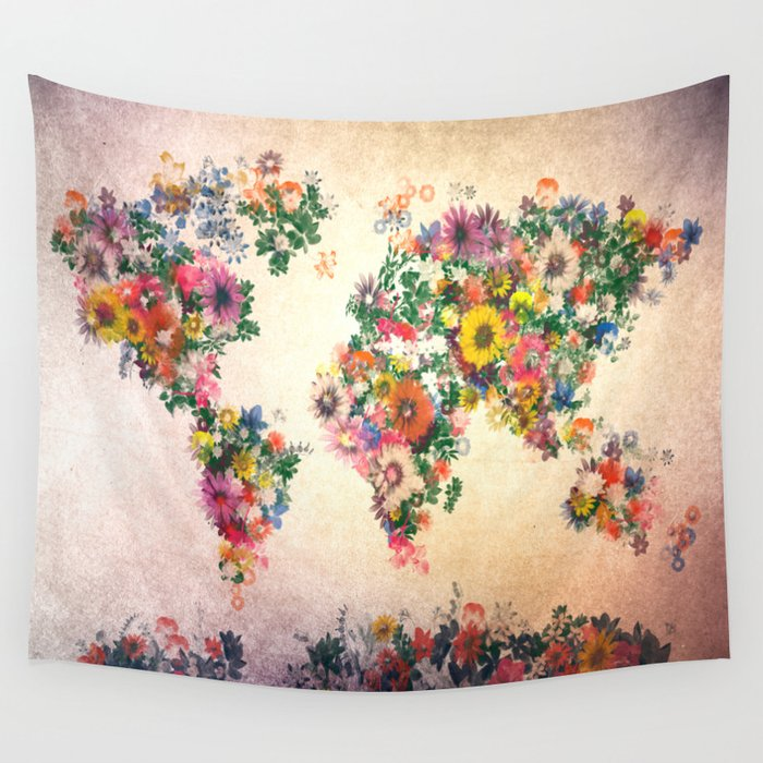 world map Wall Tapestry by Bekim ART Society6