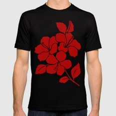 Hibiscus Animal RED IVORY Black Mens Fitted Tee SMALL