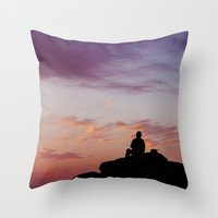 Man Enjoying Sunset II Throw Pillow
