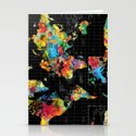 Abstract World Map Black Stationery Cards