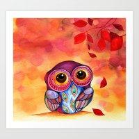 Owl's First Fall Leaf Art Print