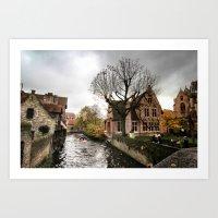 Brugge in the Rain Art Print
