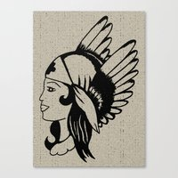 Angel of Mercy, Traditional American Tattoo Design Canvas Print