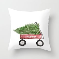 Christmas Wagon Throw Pillow