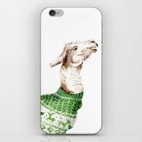 Llama in a Green Deer Sweater iPhone & iPod Skin