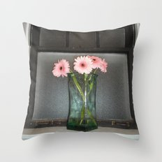 pink daisies ~ flowers on vintage sill Throw Pillow
