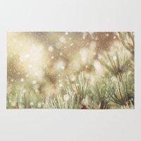 snow on pine Rug