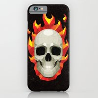 iPhone & iPod Case featuring Flaming Skull by Mr. Peruca