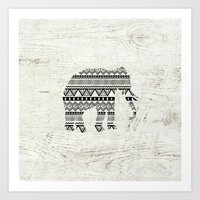 Aztec Tribal Elephant Black White Vintage Wood  Art Print