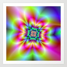Psychedelic Four Leaf Clover  Art Print