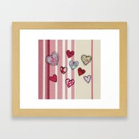 Embroidered Heart Illust… Framed Art Print