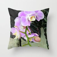 Orchids on the Rocks Throw Pillow