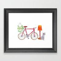 Cat Bike Lamp Plant Framed Art Print