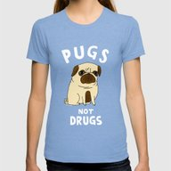 Pugs Not Drugs Womens Fitted Tee Tri-Blue MEDIUM