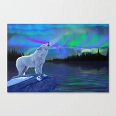 Arctic Prayer - White Wolf and Aurora Canvas Print