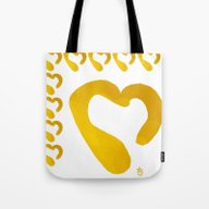 Gold Hearts On White - L… Tote Bag