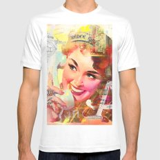 Wait a minute, I'll be right back Mens Fitted Tee White SMALL
