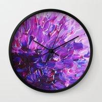 LOTUS BLOSSUM - Beautiful Purple Floral Abstract, Modern Decor in Eggplant Plum Lavender Lilac Wall Clock