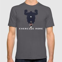 Exercise more. A PSA for stressed creatives. Mens Fitted Tee Asphalt SMALL