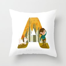 A is for Adventure Throw Pillow