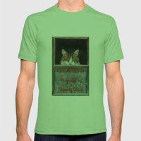 Scaredy Cat Mens Fitted Tee Grass SMALL