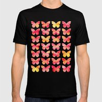 Butterflies Watercolor 1 Mens Fitted Tee Black SMALL