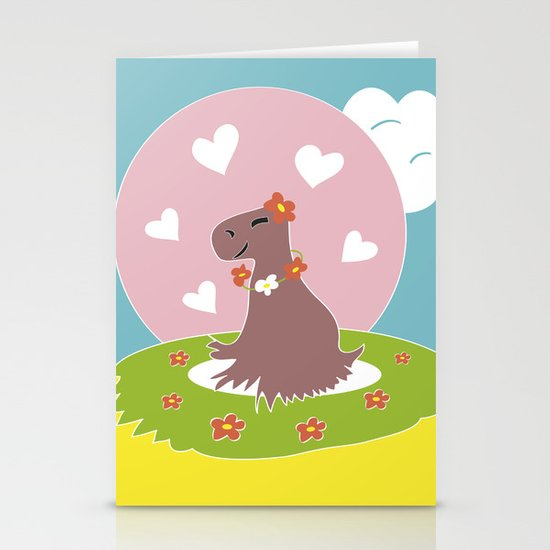 Capybara in Love Stationery Card