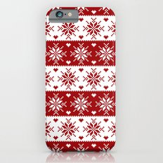 Red Fair Isle Christmas Sweater Snowflakes Pattern Slim Case iPhone 6s