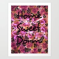 HOME SWEET DORM Colorful Floral Fine Art Trendy Typography Quote Feminine Pink Hipster Girly Cool Art Print