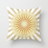 Golden Rays Mandala Throw Pillow