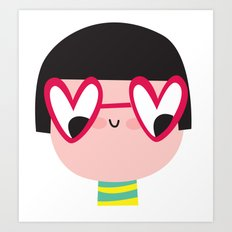 heart glasses girl Art Print