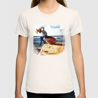 Girl On A Stone Womens Fitted Tee Natural SMALL