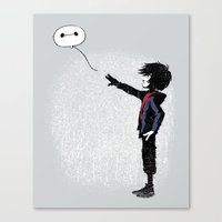 Boy with Robot Canvas Print