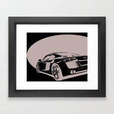 Audi R8, Black & White Framed Art Print